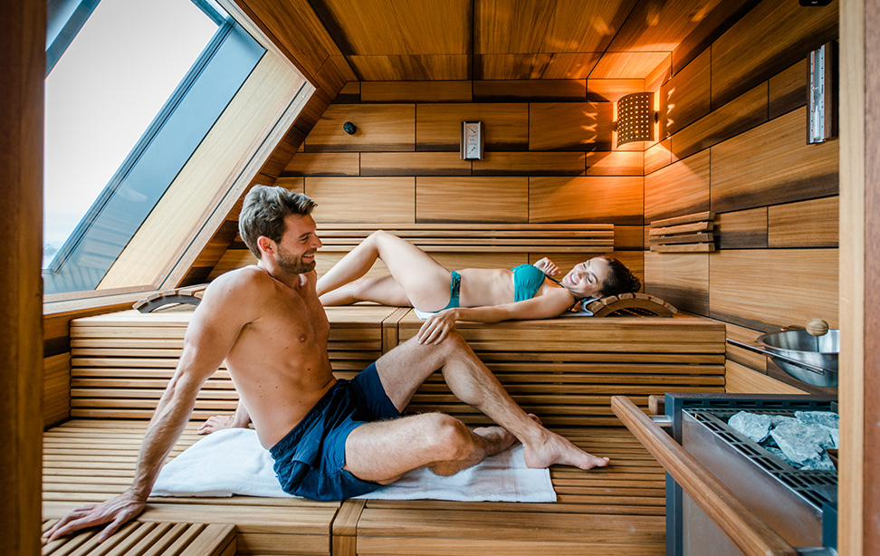 Private Spa Suit mit Sauna im Wellnesshotel Deltapark in der Schweiz